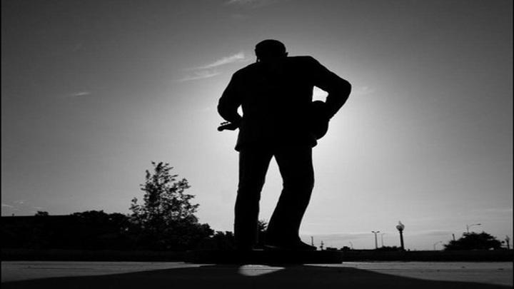 Buddy Holly Statue (Backside) Black & White - 720