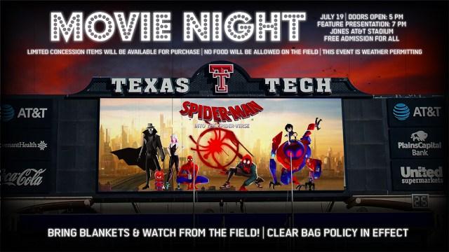 "TTU Athletics hosting annual ""Movie Night"" at Jones AT&T Stadium on Friday, July 19"
