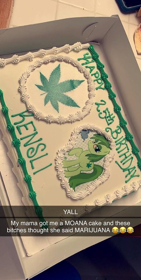 Remarkable Baker Mistakes Moana For Marijuana On Birthday Cake Klbk Funny Birthday Cards Online Alyptdamsfinfo