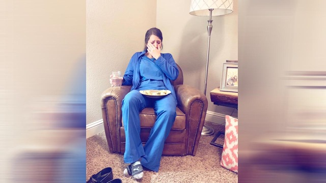 Photo of exhausted nurse goes viral: 'Can we just give it up for nurses for a minute?'
