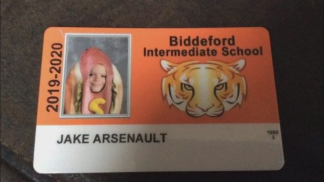 Maine fourth-grader wears hot dog costume in school ID