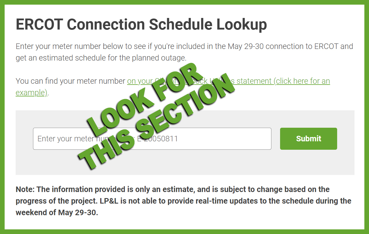 ERCOT Connection Schedule